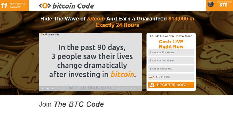 Everything about Bitcoin Code: forum reviews abd opinions, a sales hit, or a scam? Is there a registration fee? Logging in on the account explained.